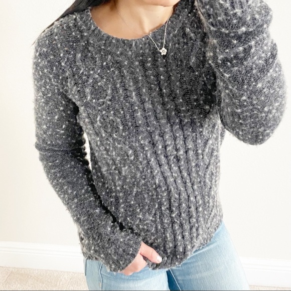 J.Crew Gray Classic Cable Knit Wool Blend Sweater